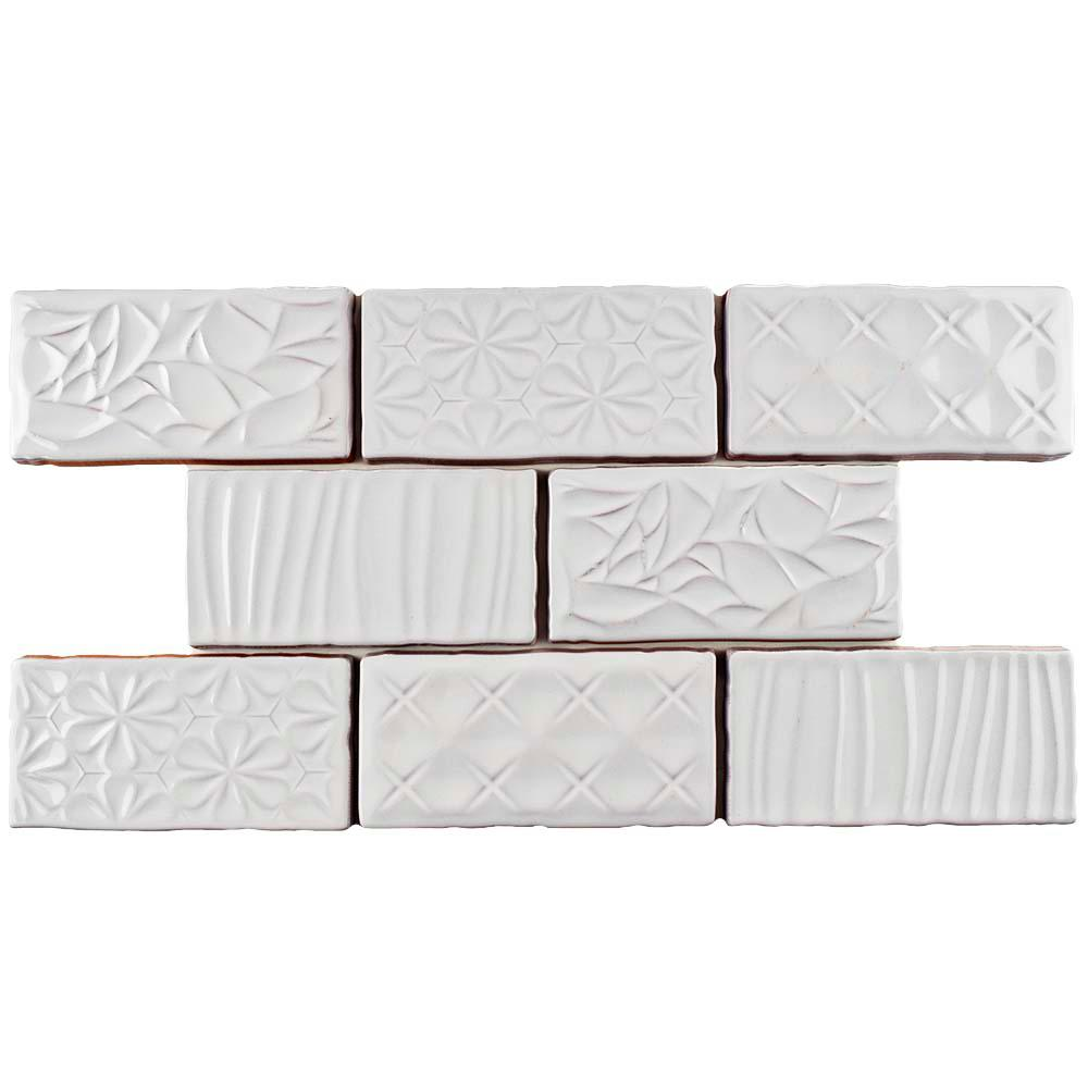 Antic Sensations Milk 3 in. x 6 in. Ceramic Wall Tile