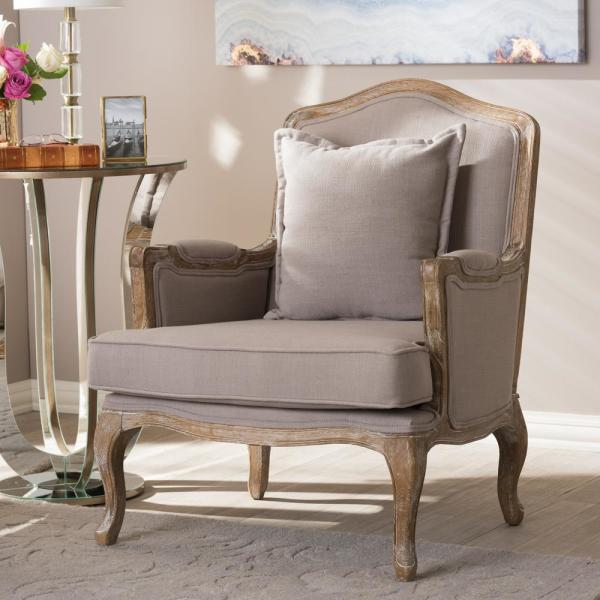 Baxton Studio Constanza Beige Fabric Upholstered Accent Chair 28862-4528-HD