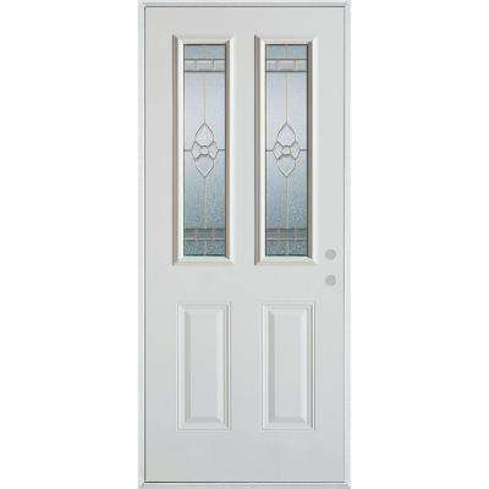 32 in. x 80 in. Traditional Zinc 2 Lite 2-Panel Painted White Left-Hand Inswing Steel Prehung Front Door
