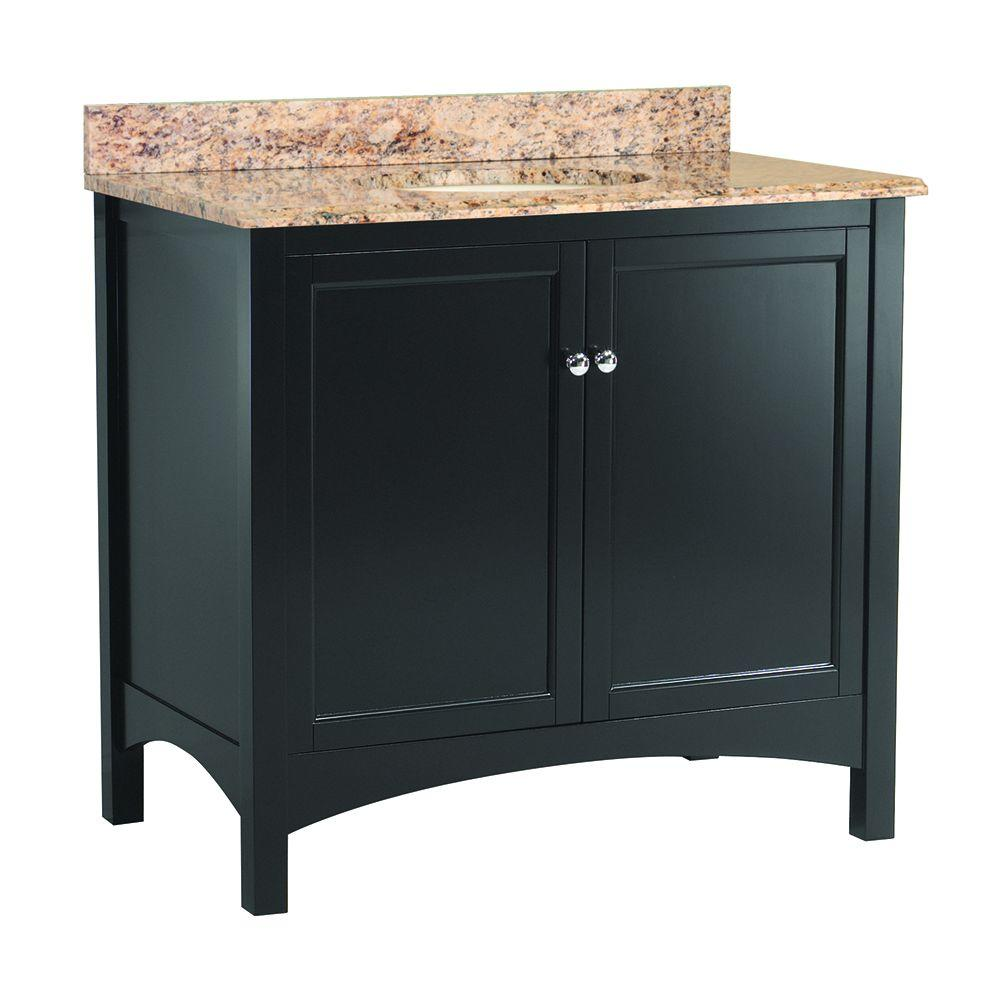 Home Decorators Collection Haven 37 in. W x 22 in. D Vanity in Espresso with Vanity Top and Stone Effects in Santa Cecilia