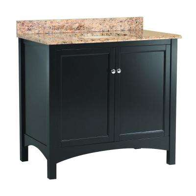 Haven 37 in. W x 22 in. D Vanity in Espresso with Vanity Top and Stone Effects in Santa Cecilia