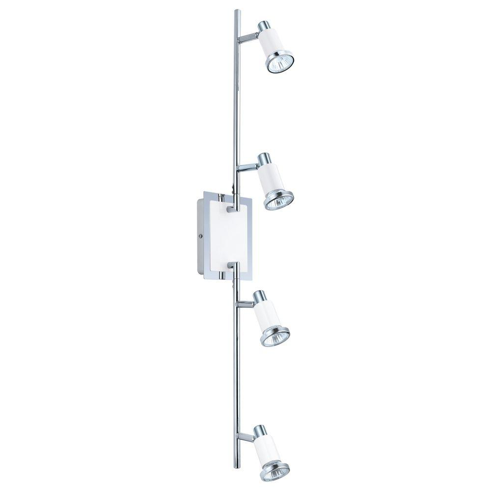 null Eridan 4-Light Surface Mount Chrome and Glossy White Track Lighting Fixture with Adjustable Arms
