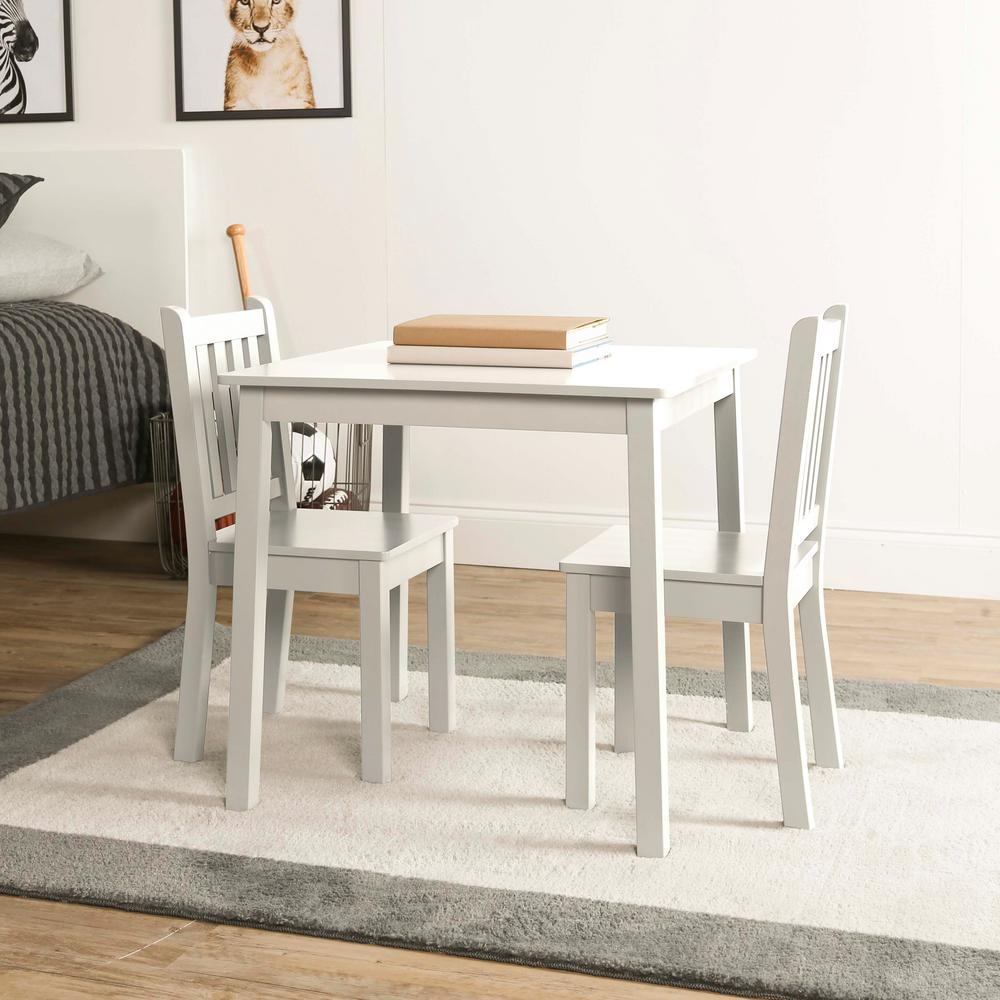 Tot tutors daylight 3 piece white kids table and chair set for Table and chair set