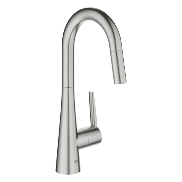 Ladylux L2 Single-Handle Pull-Out Sprayer Kitchen Faucet for Bar Sinks in SuperSteel Infinity Finish