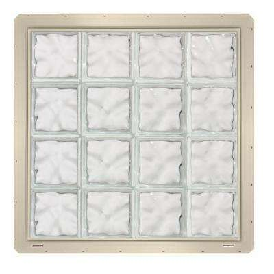 31.75 in. x 31.75 in. x 3.25 in. Wave Pattern Glass Block Window with Almond Colored Vinyl Nailing Fin