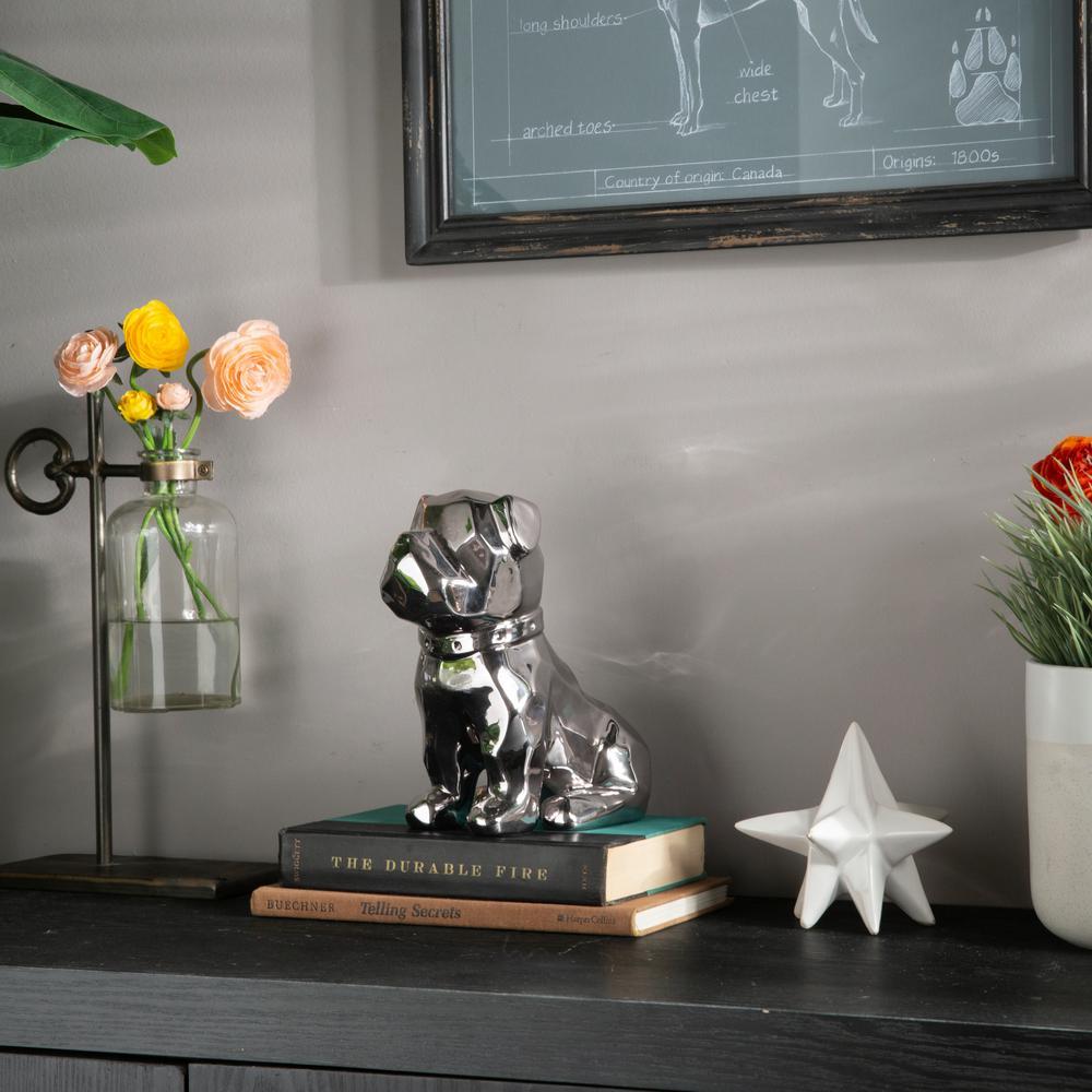 8.00 in. H Figurine Decorative Sculpture in Silver Polished Chrome