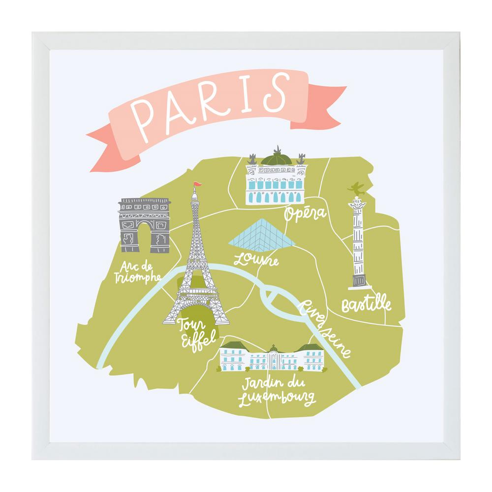 Alexa Paris City Map Art Board, WHITE FRAME, Magnetic Memo Board
