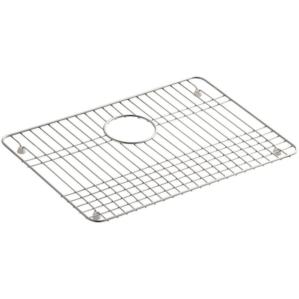 KOHLER Iron/Tones 19-1/2 in. x 14 in. Bottom Sink Basin Rack in Stainless Steel