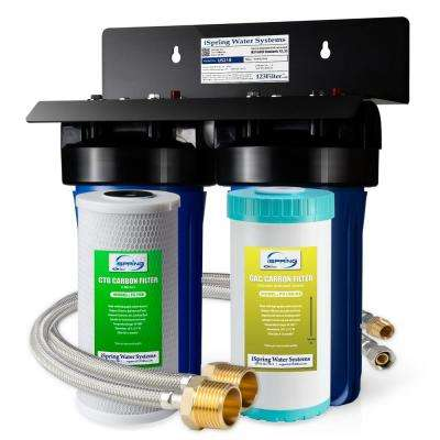 10 in. x 4.5 in. Heavy Duty 2-Stage Undersink Water Filtration System with Premium Carbon Filter and Direct Connect Hose