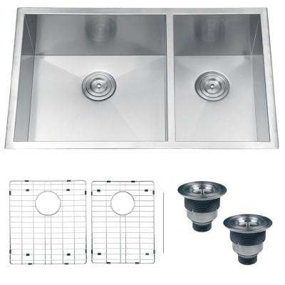 Undermount 32 in. 70/30 16-Gauge Double Bowl Stainless Steel Kitchen Sink