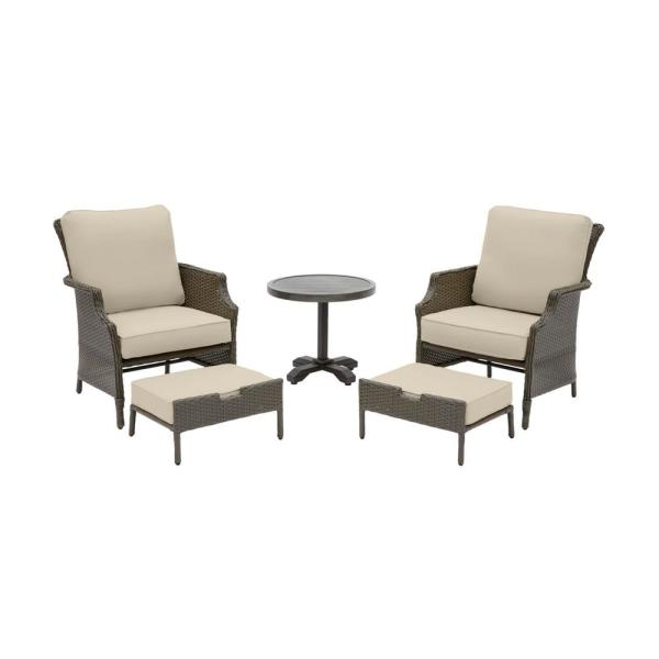 Grayson 5-Piece Ash Gray Wicker Outdoor Patio Small Space Seating Set with CushionGuard Putty Tan Cushions