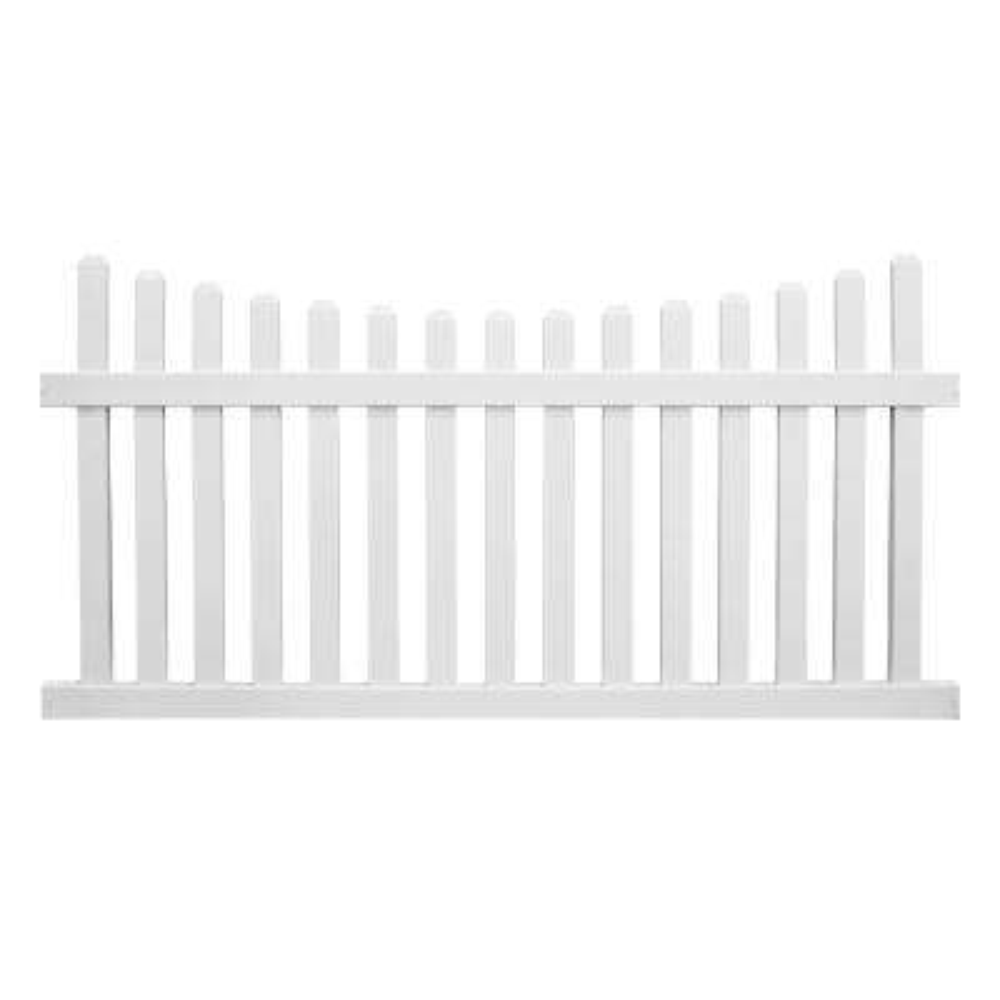 Ellington 5 ft. H x 8 ft. W White Vinyl Picket Fence Panel Kit