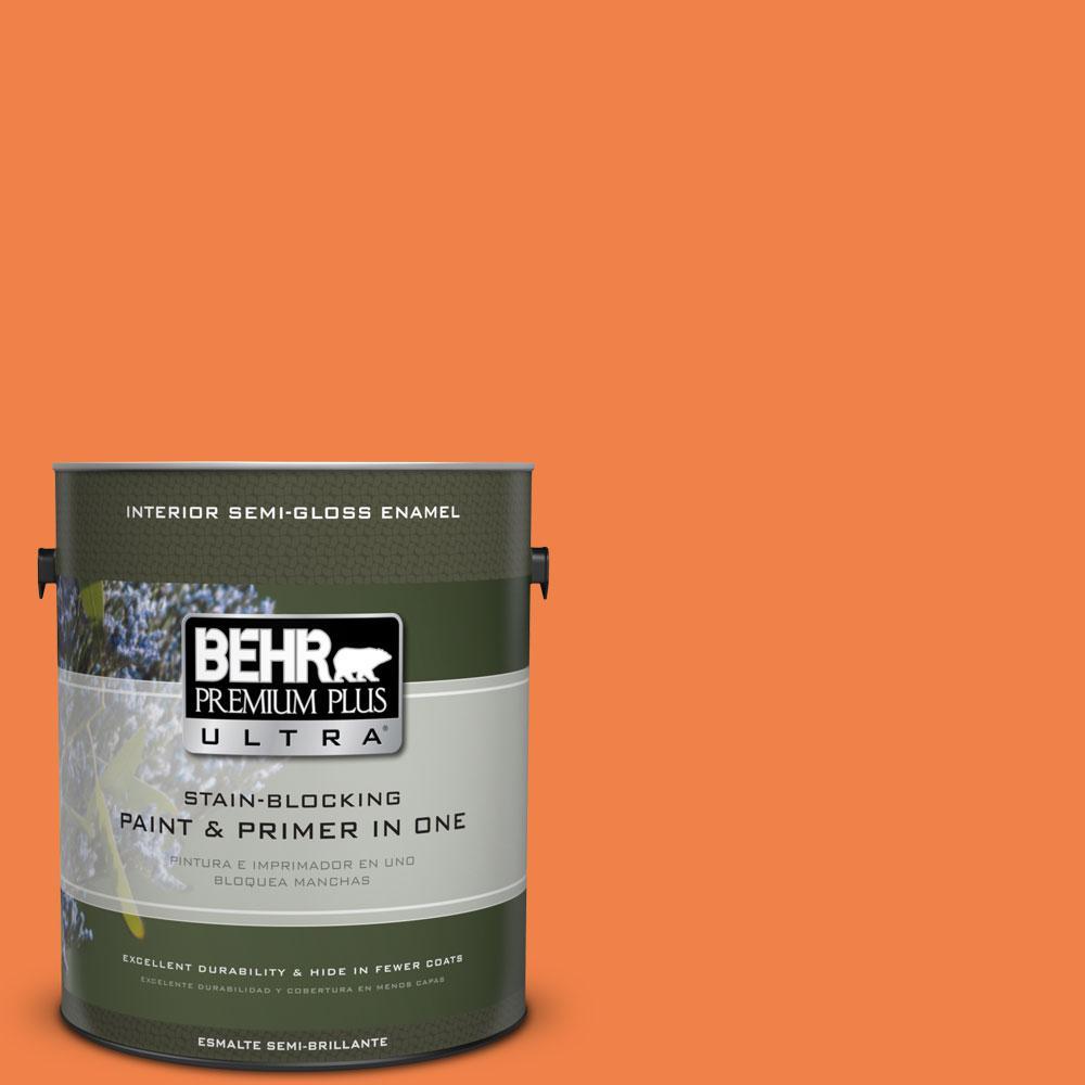 1-gal. #240B-6 Orange Zest Semi-Gloss Enamel Interior Paint