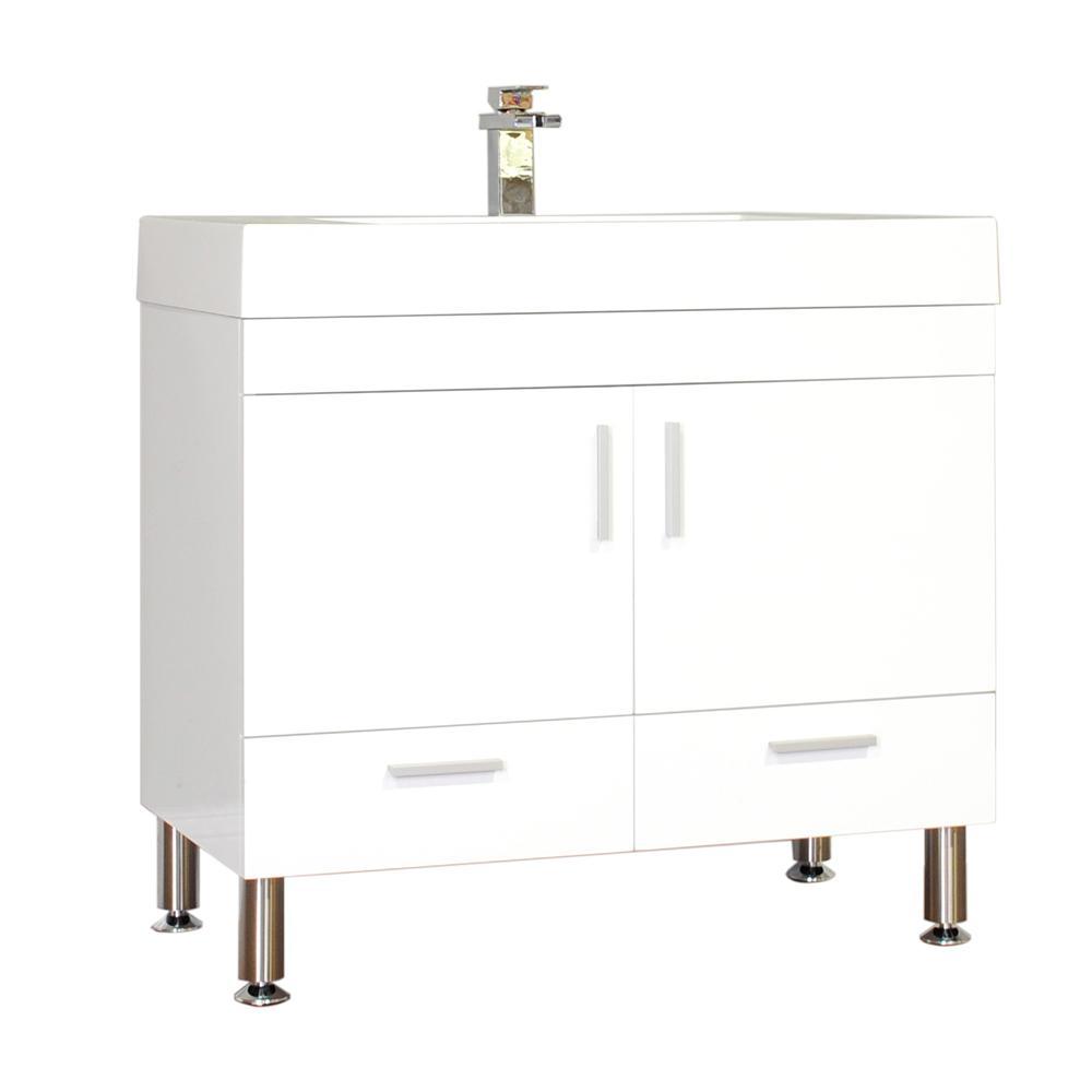 The Modern 35.375 in. W x 18.75 in. D Bath Vanity in White with Acrylic Vanity Top in White with White Basin