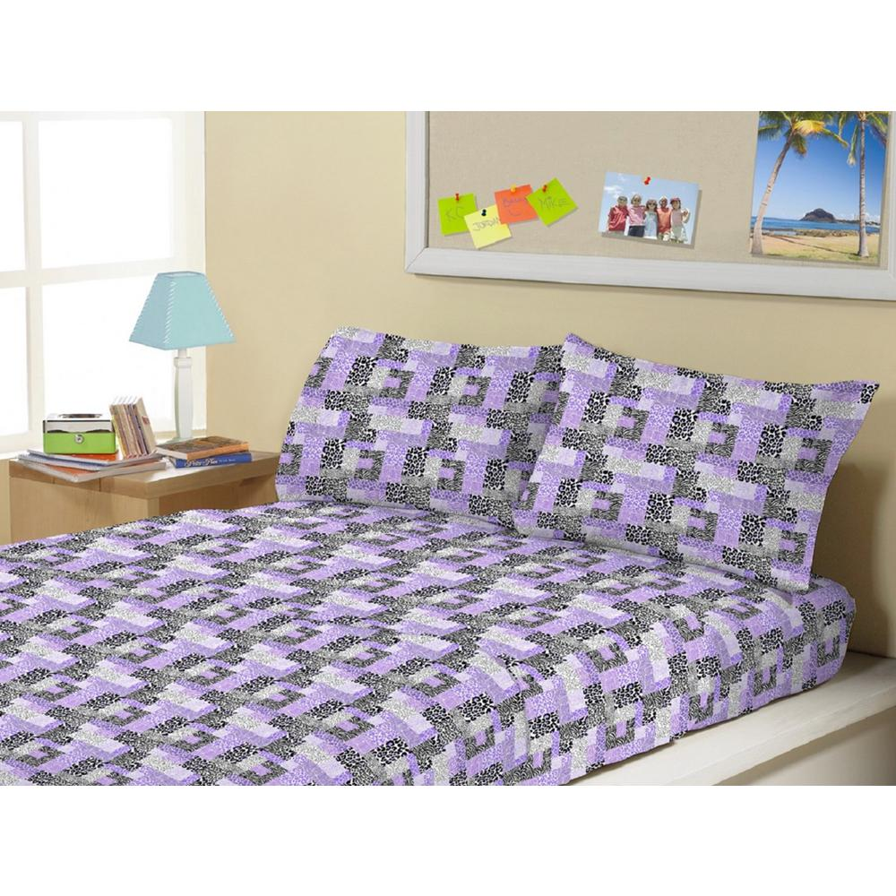 3-Piece Animal Block Purple Twin Sheet Set