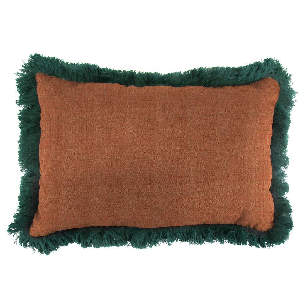 Jordan Manufacturing Sunbrella 19 in. x 12 in. Linen Chili Outdoor Throw Pillow with Forest Green Fringe