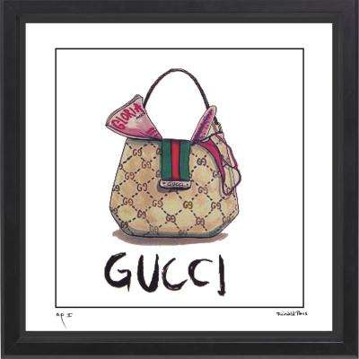 """12 in x 12 in"" ""Hobo 1"" Gucci Handbag Ad by Fairchild Paris Framed Printed Wall Art"