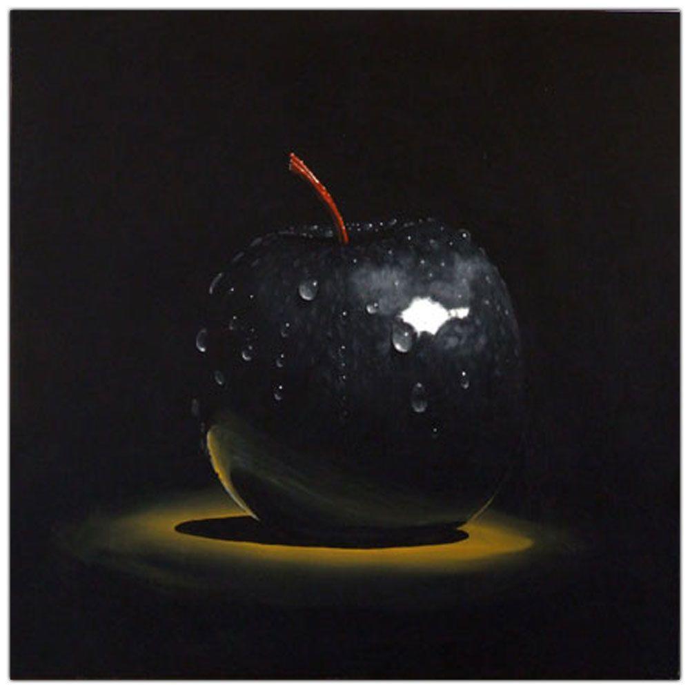 14 in. x 14 in. Black Apple Canvas Art