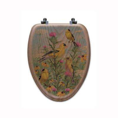 Golden Glories Elongated Closed Front Wood Toilet Seat in Oak Brown
