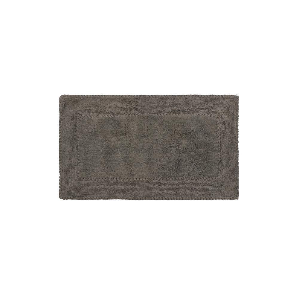 Dark Gray Cotton Ruffle Bath Rug