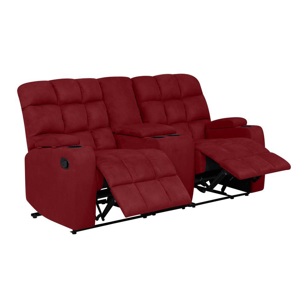 Crimson Red Wall Hugger 2-Seat Recliner Loveseat W/Power Storage Console Microfiber