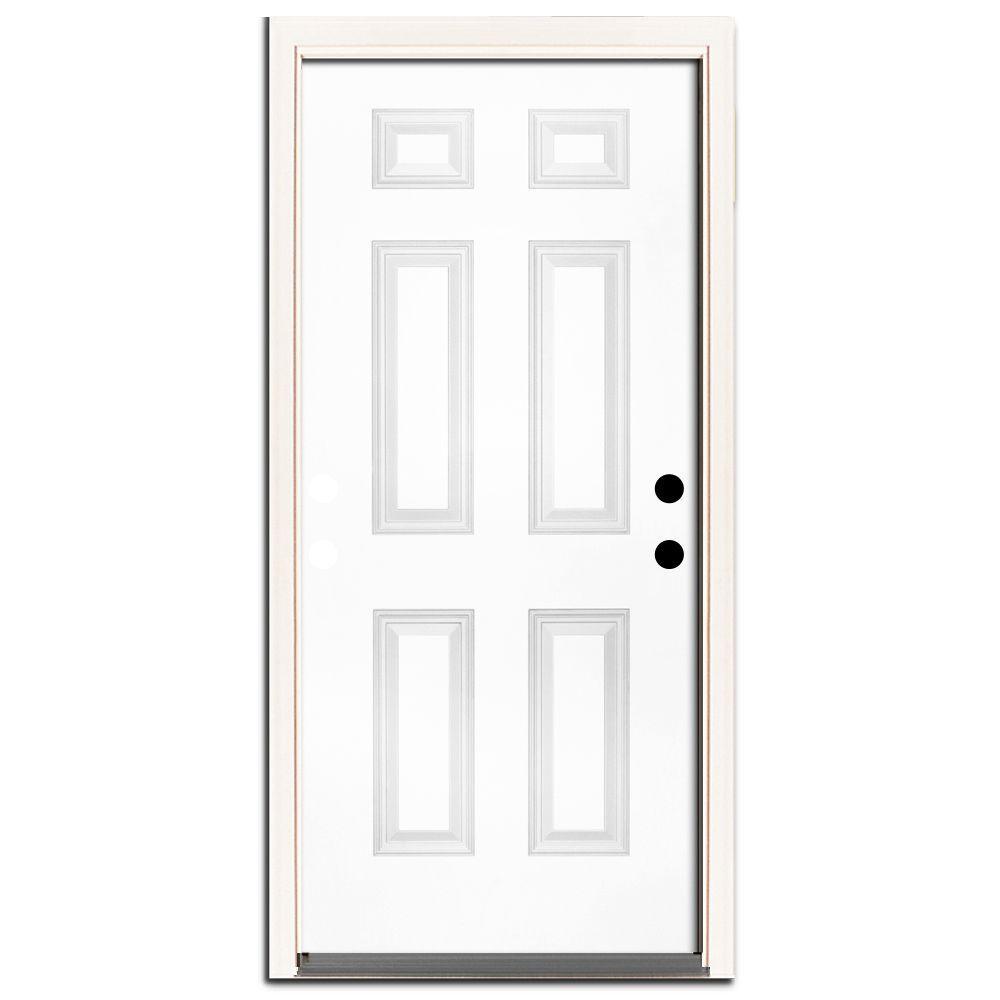 30 in. x 80 in. Premium 6-Panel Primed White Steel Prehung Front Door Left-Hand Inswing and 4 in. Wall