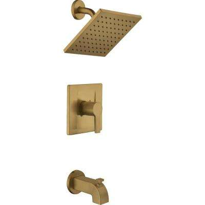 Modern Single-Handle 1-Spray Tub and Shower Faucet in Matte Gold (Valve Included)
