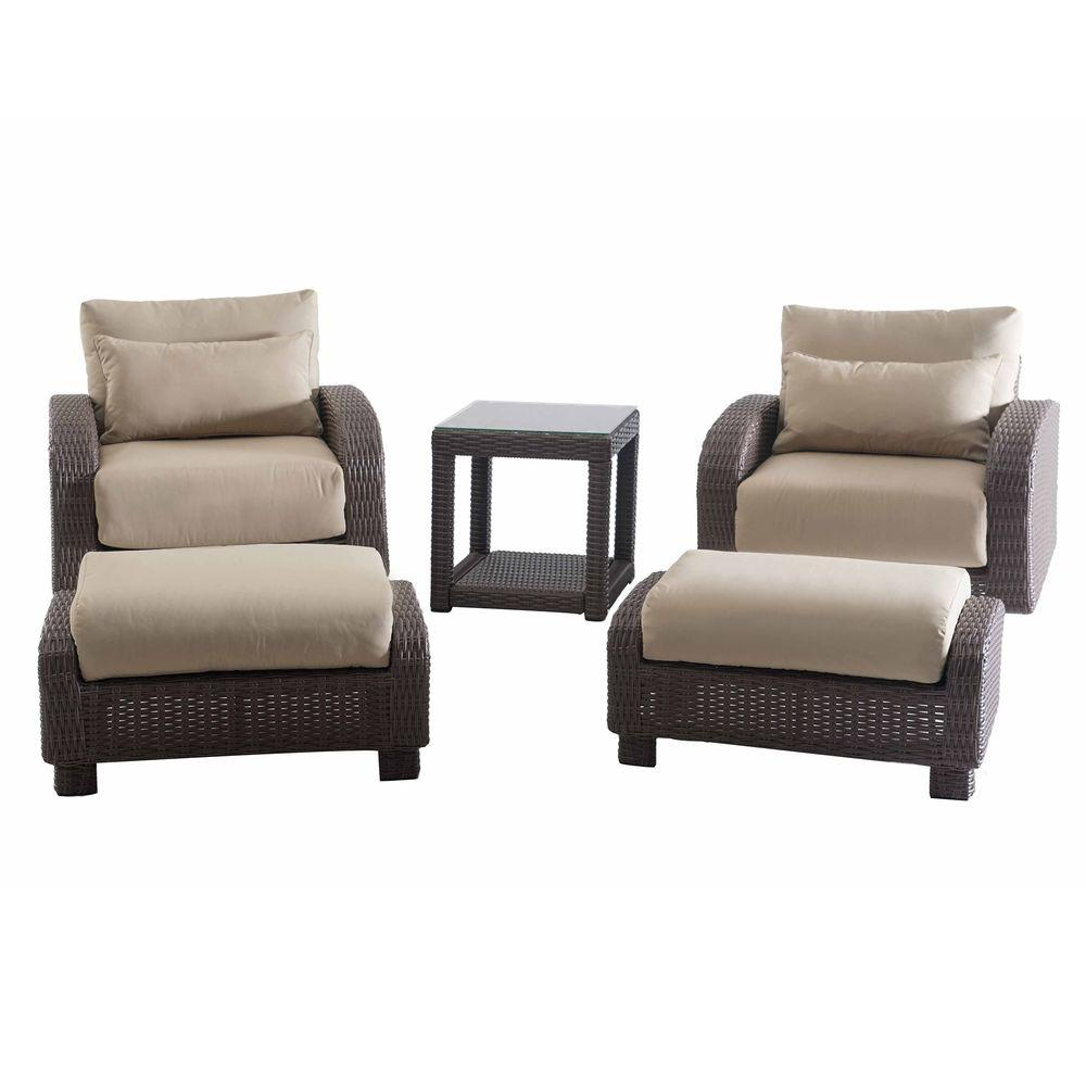 Sunjoy Symphony 5 Piece Patio Conversation Set With Beige Cushions