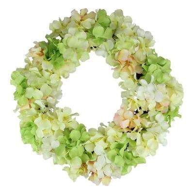 16 in. Yellow and Pink Hydrangea Springtime Floral Wreath