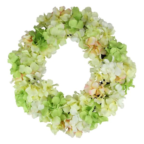Northlight 16 In Yellow And Pink Hydrangea Springtime Floral Wreath 32840919 The Home Depot