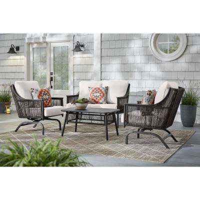 Bayhurst 4-Piece Black Wicker Outdoor Patio Conversation Seating Set with CushionGuard Chalk White Cushions