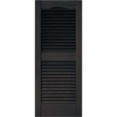 15 in. x 36 in. Louvered Vinyl Exterior Shutters Pair in #010 Musket Brown