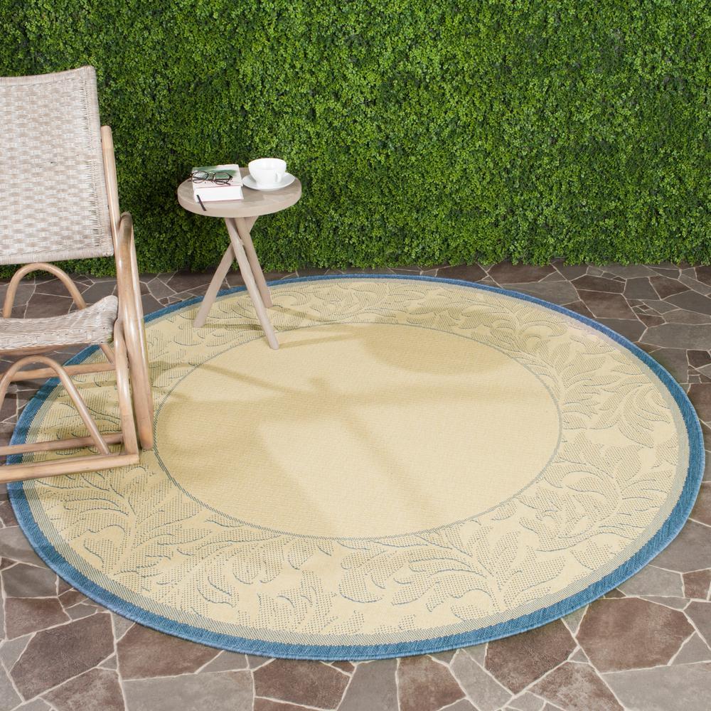 Safavieh Courtyard Natural/Blue 5 ft. 3 in. x 5 ft. 3 in. Indoor/Outdoor Round Area Rug