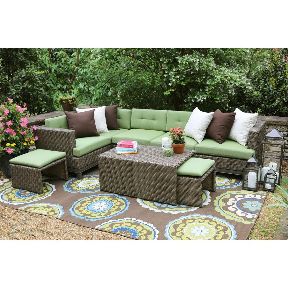 AE Outdoor Hampton 8-Piece All-Weather Wicker Patio Sectional with  Sunbrella Fabric