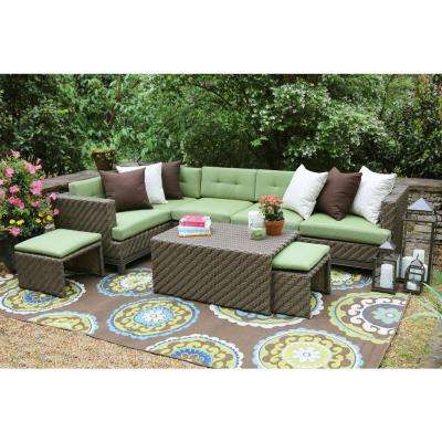 Hampton 8-Piece All-Weather Wicker Patio Sectional with Sunbrella Fabric