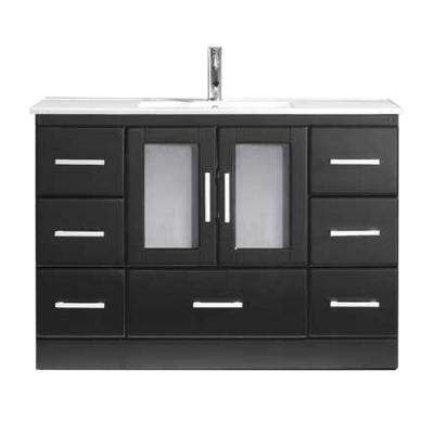 Zola 48 in. W Bath Vanity in Espresso with Ceramic Vanity Top in Slim White Ceramic with Square Basin and Faucet