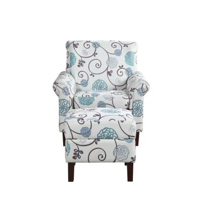 Multi colored Floral Armchair with Ottoman