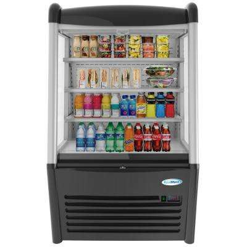 36 in. W 13.6 cu. ft Commercial Open Air Refrigerator Merchandiser in Black