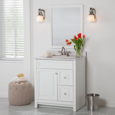 Brinkhill 31 in. W x 22 in. D x 38.50 in. H Bath Vanity in White with Stone Effect Vanity Top in Pulsar with White Sink