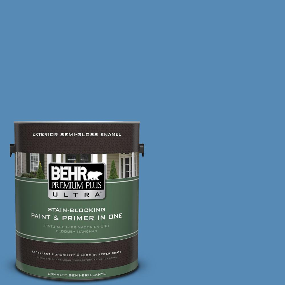 BEHR Premium Plus Ultra 1-gal. #M520-5 Alpha Blue Semi-Gloss Enamel Exterior Paint