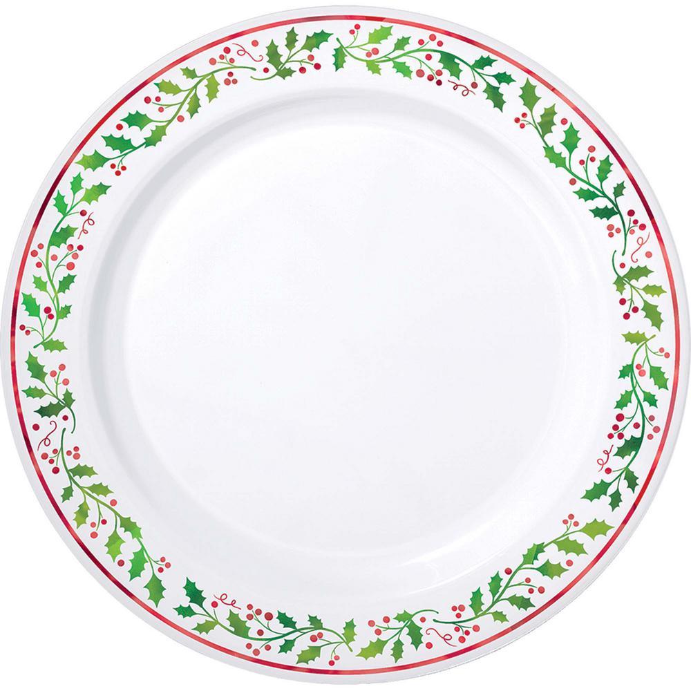 7.5 in. x 7.5 in. Christmas Premium Plastic Plates (20-Count)