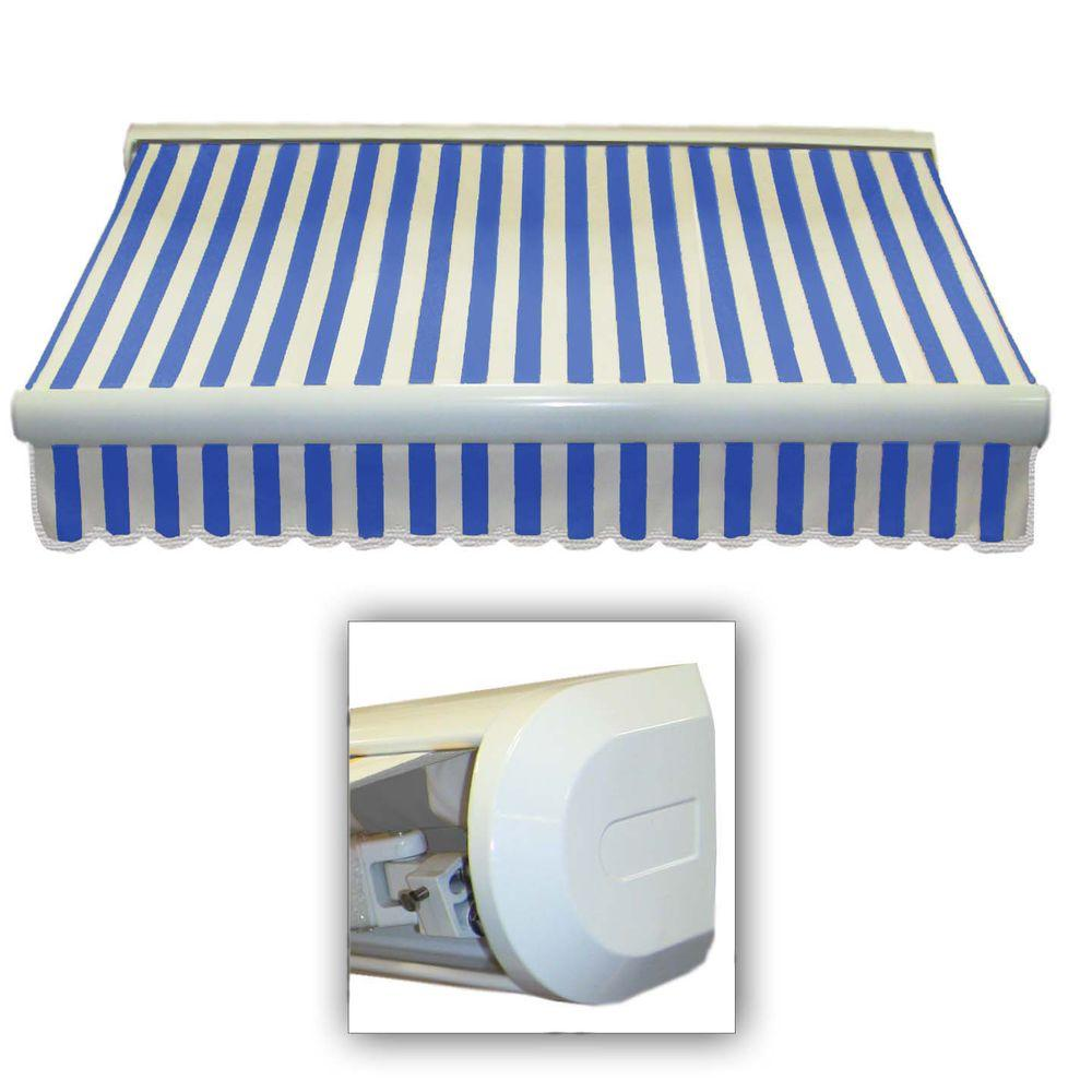 AWNTECH 14 ft. Key West Manual Retractable Awning (120 in. Projection) in Bright Blue/White Stripe