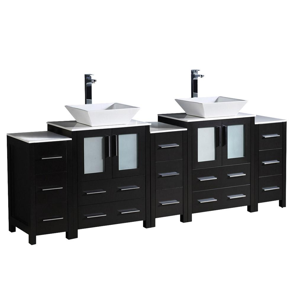84 inch vanity top double sink. Fresca Torino 84 in  Double Vanity Espresso with Glass Stone Top White