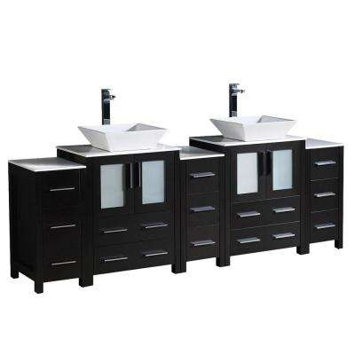 Torino 84 in. Double Vanity in Espresso with Glass Stone Vanity Top in White with White Basin and Side Cabinets