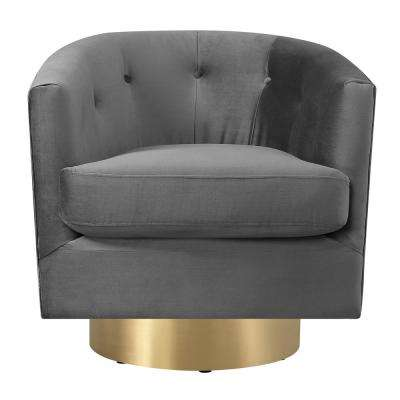 Carolina Slate Button Tufted Swivel Accent Chair