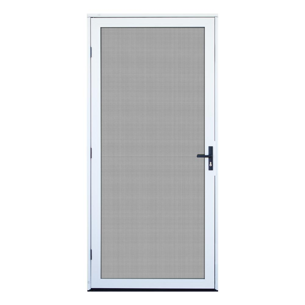 White Recessed Mount Outswing Security Door With Meshtec Screen