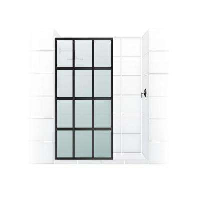 Gridscape Series V1 30 in. x 72 in. Divided Light Shower Screen in Black Bronze and Satin Glass