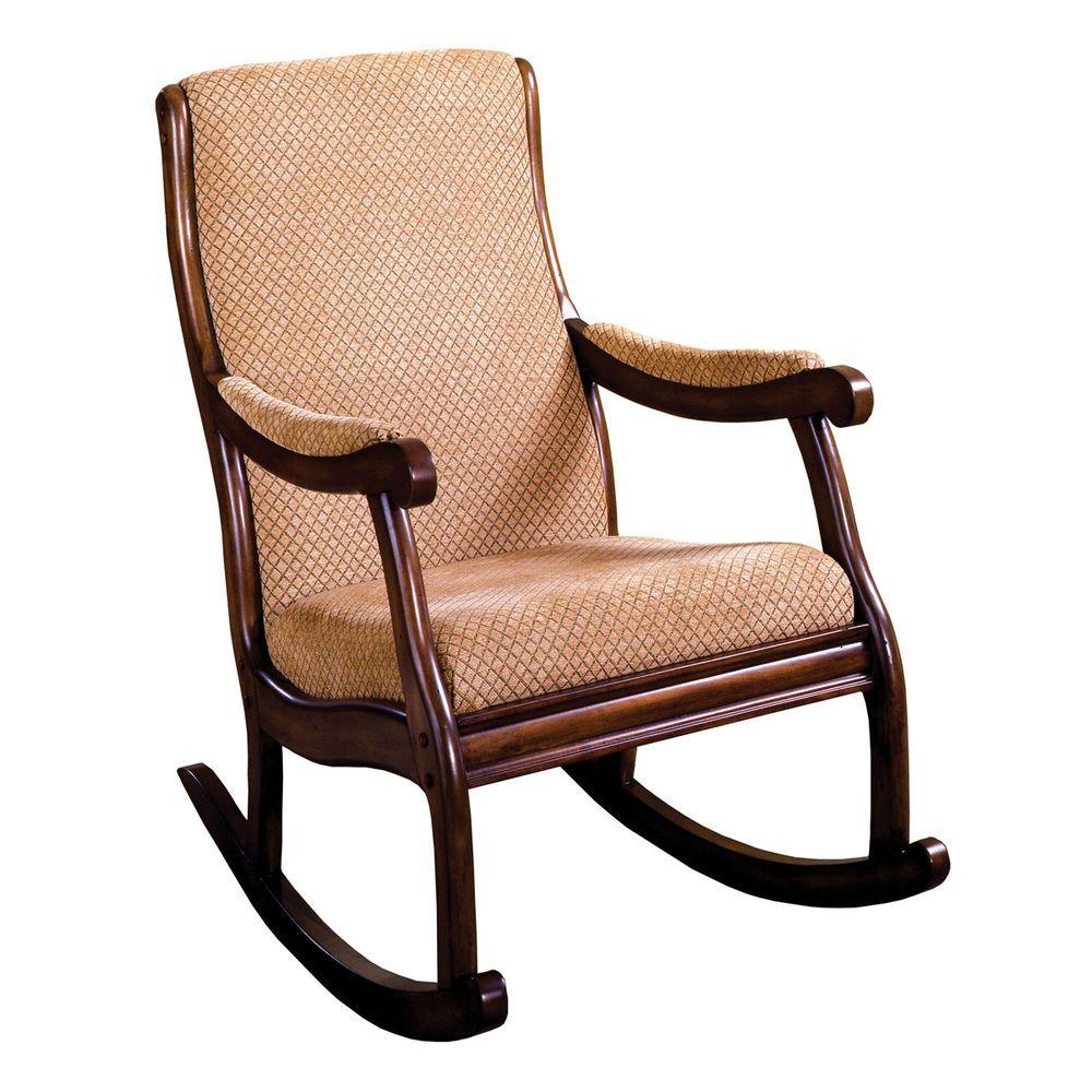 Liverpool Antique Oak Fabric Rocking Arm Chair