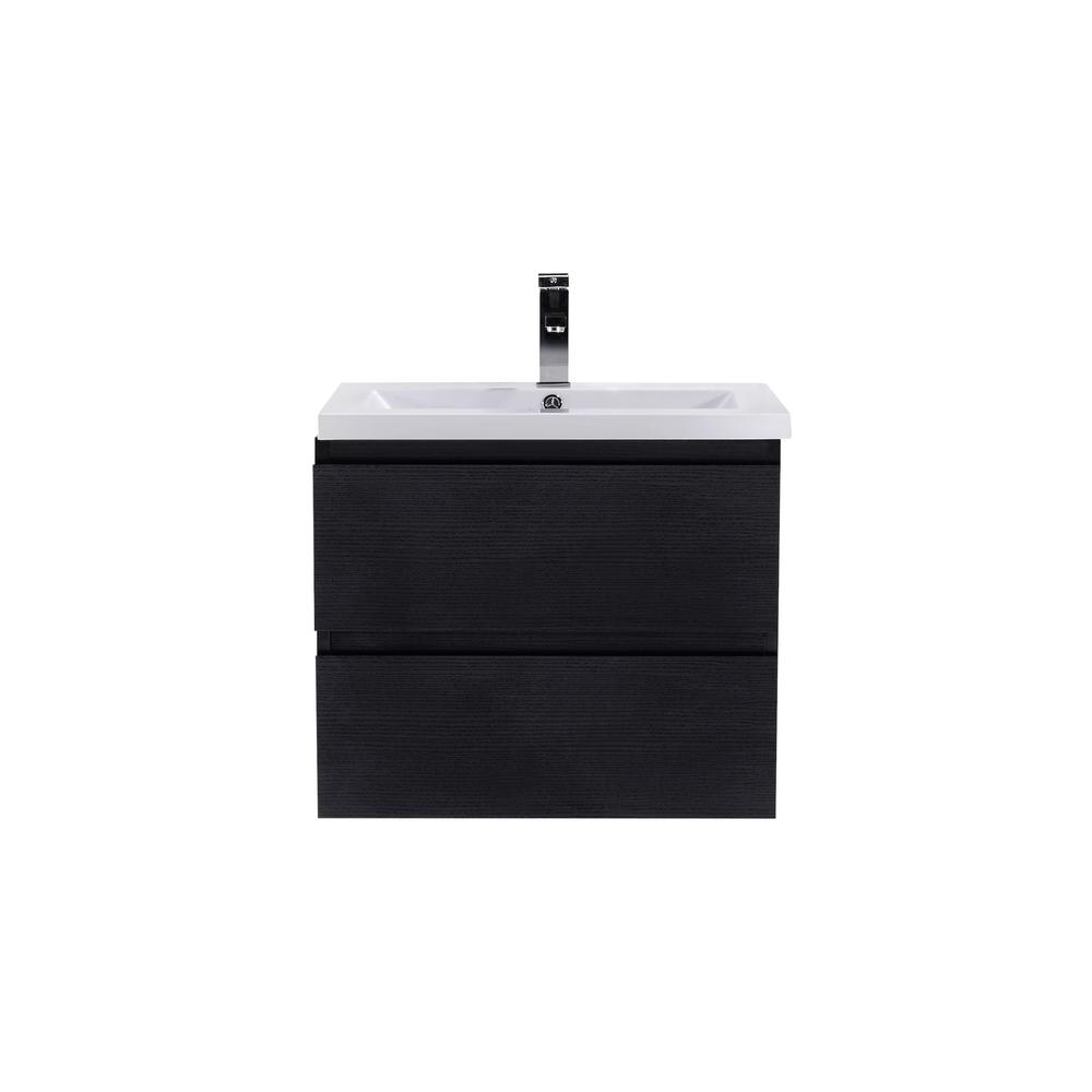 Moreno Bath Bohemia 24 in. W Bath Vanity in Rich Black with Reinforced Acrylic Vanity Top in White with White Basin