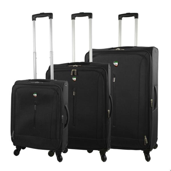 Mia Toro Tena 3-Piece Black Softside Spinner Luggage Set M1148-0PC-BLKNL